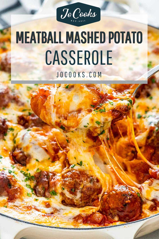 pin for meatball mashed potato casserole.
