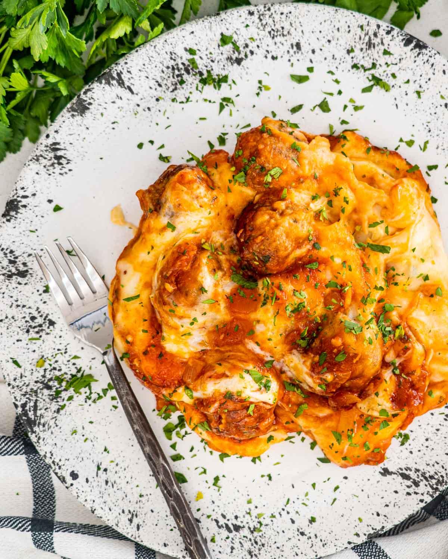 meatball mashed potato casserole on a what plate.