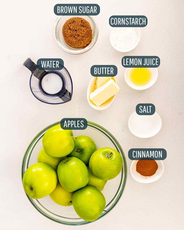 ingredients needed to make apple pie filling.