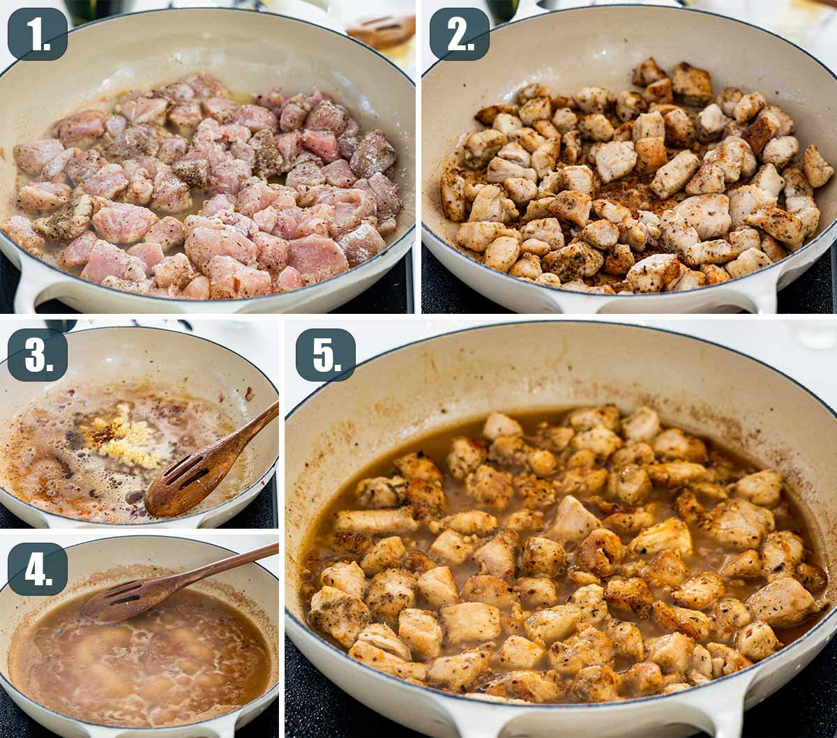 detailed process shots showing how to make chicken scampi.