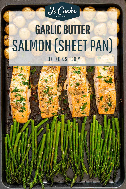 pin for garlic butter salmon sheet pan dinner.