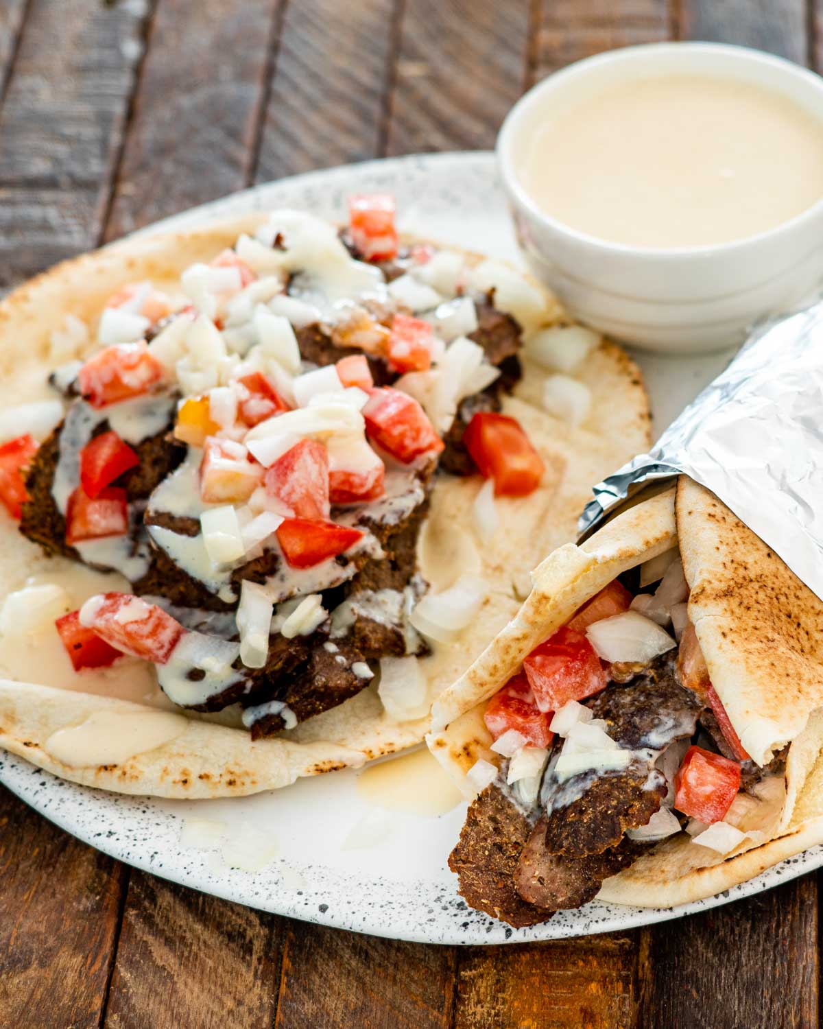 halifax donair on a white plate.