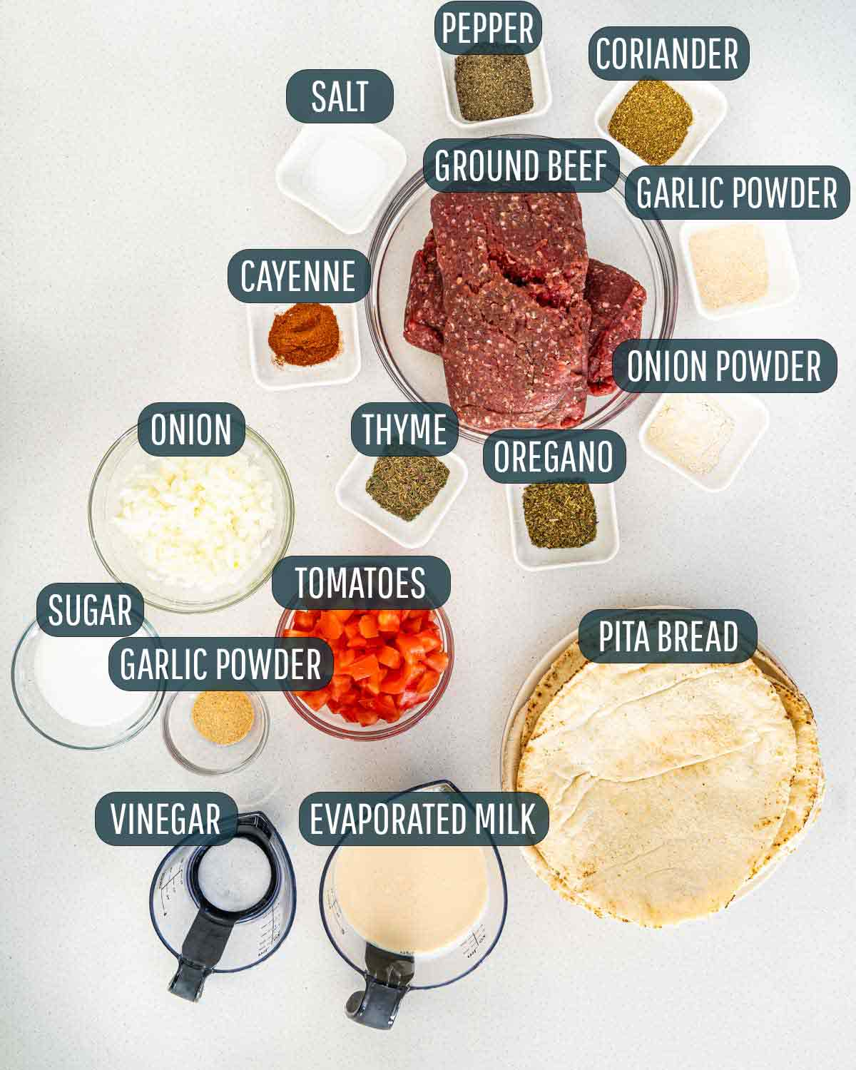 overhead shot of ingredients needed to make halifax donair.