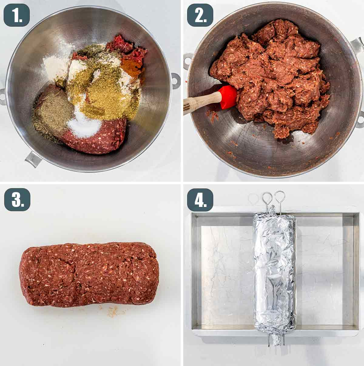 process shots showing how to make meat for halifax donair.