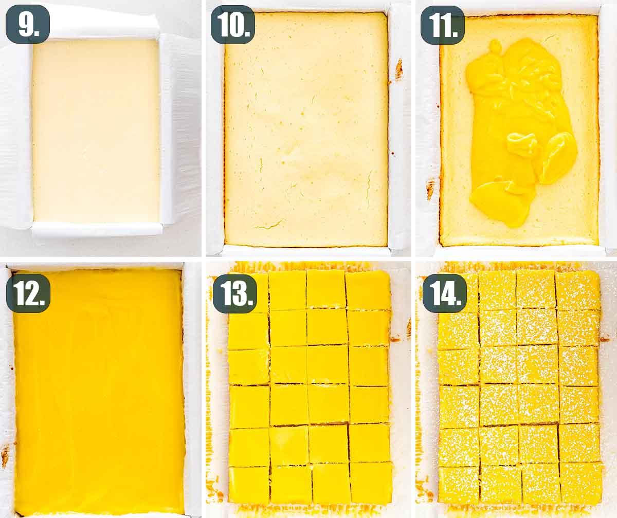 process shots showing how to finish making lemon cheesecake bars.