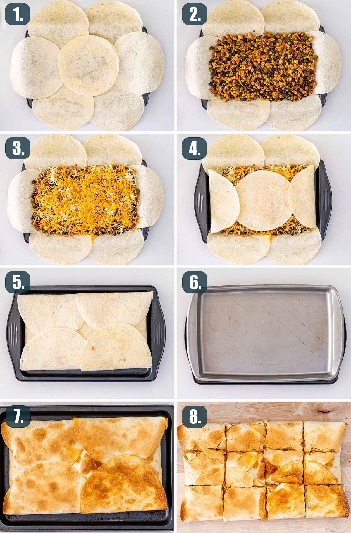 detail process shots showing how to assemble sheet pan quesadilla.