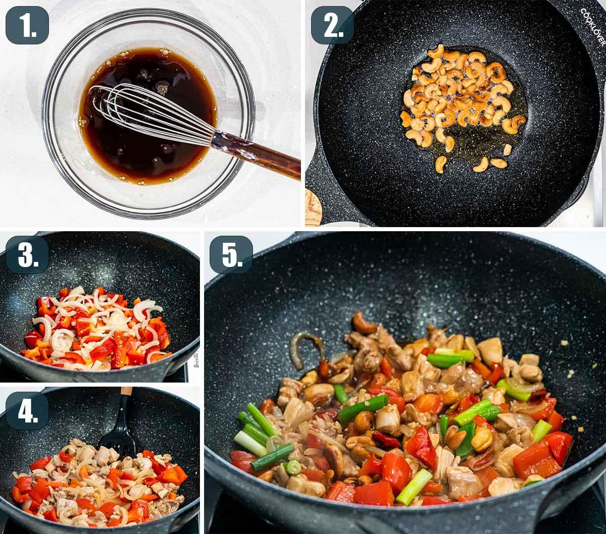 process shots showing how to make thai cashew chicken.