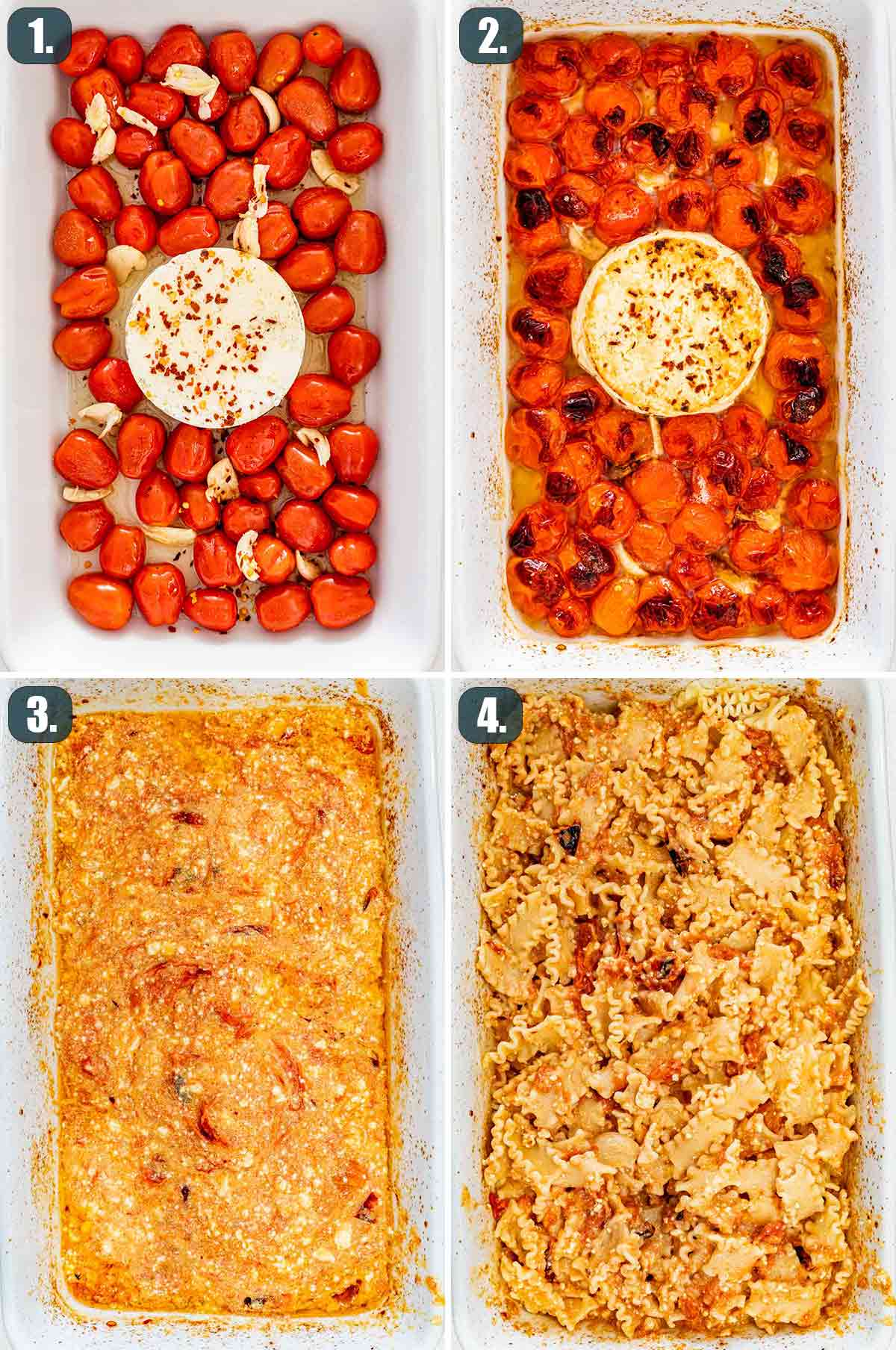 detailed process shots showing how to make baked feta pasta.