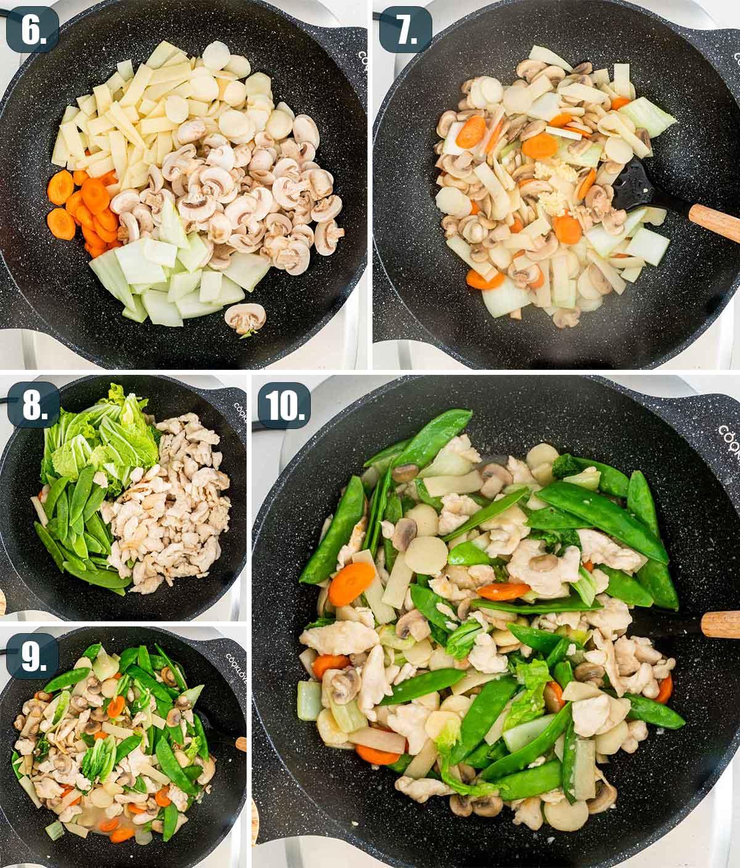 process shots showing how to make moo goo gai pan.