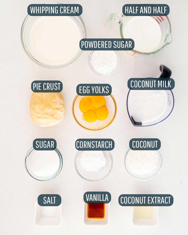 overhead shot of ingredients needed to make coconut cream pie.