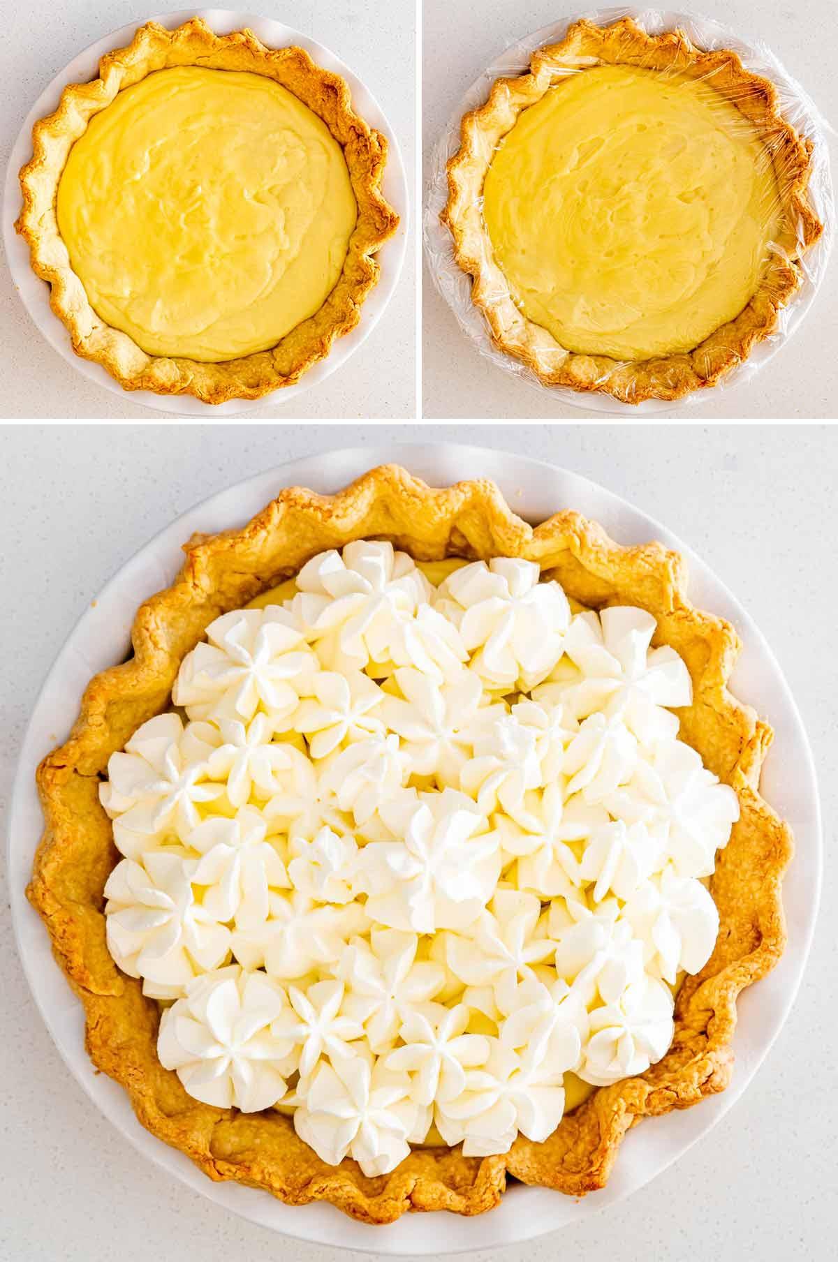 process shots showing how to assemble coconut cream pie.
