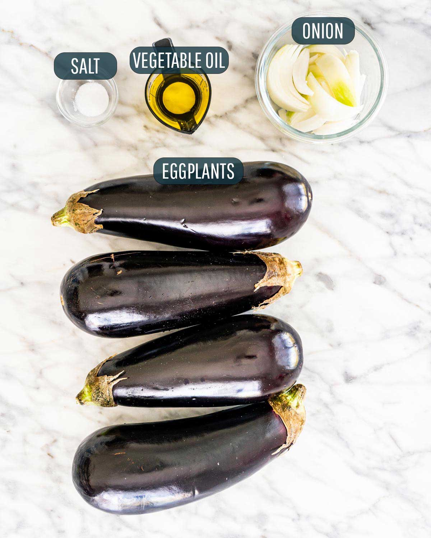 overhead shot of ingredients needed to make eggplant dip.