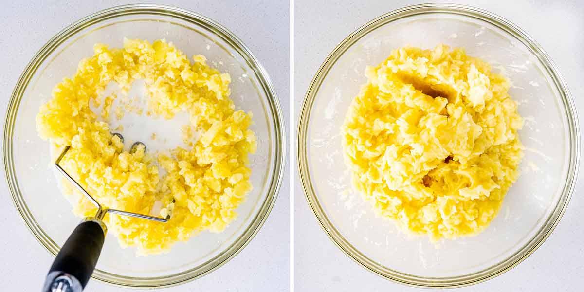 process shots showing how to make mashed potatoes.
