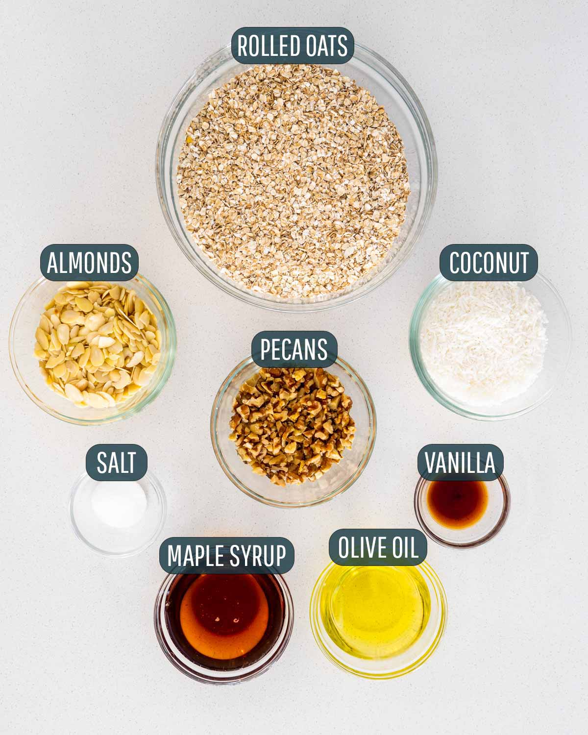 overhead shot of all the ingredients needed to make granola.
