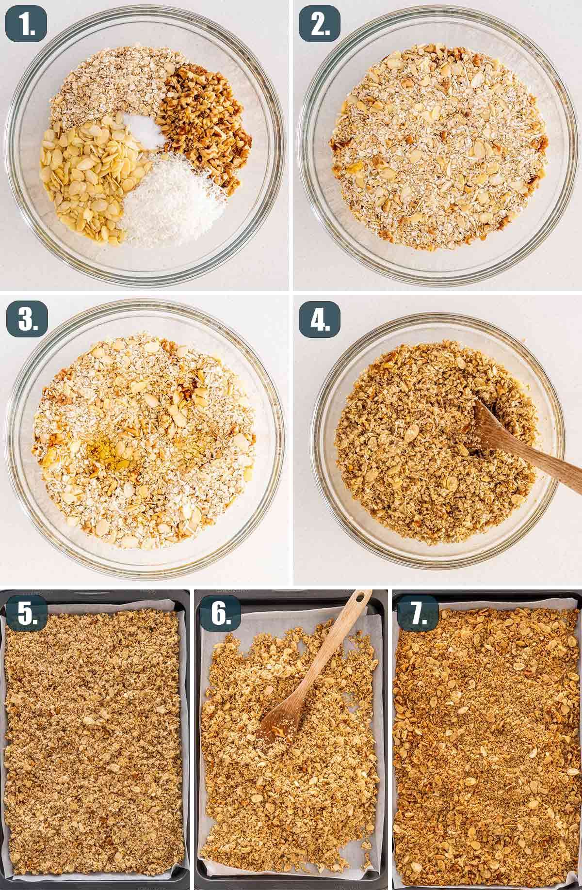 detailed process shots showing how to make granola.