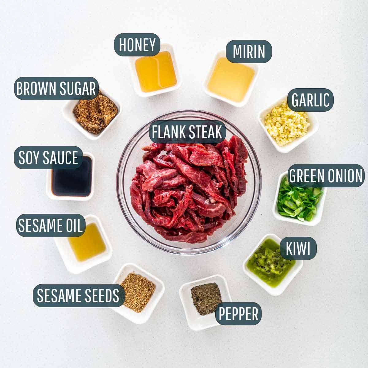 overhead shot of ingredients needed to make korean beef bulgogi.