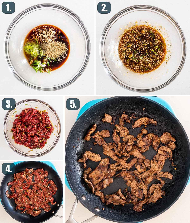 process shots showing how to make korean beef bulgogi.