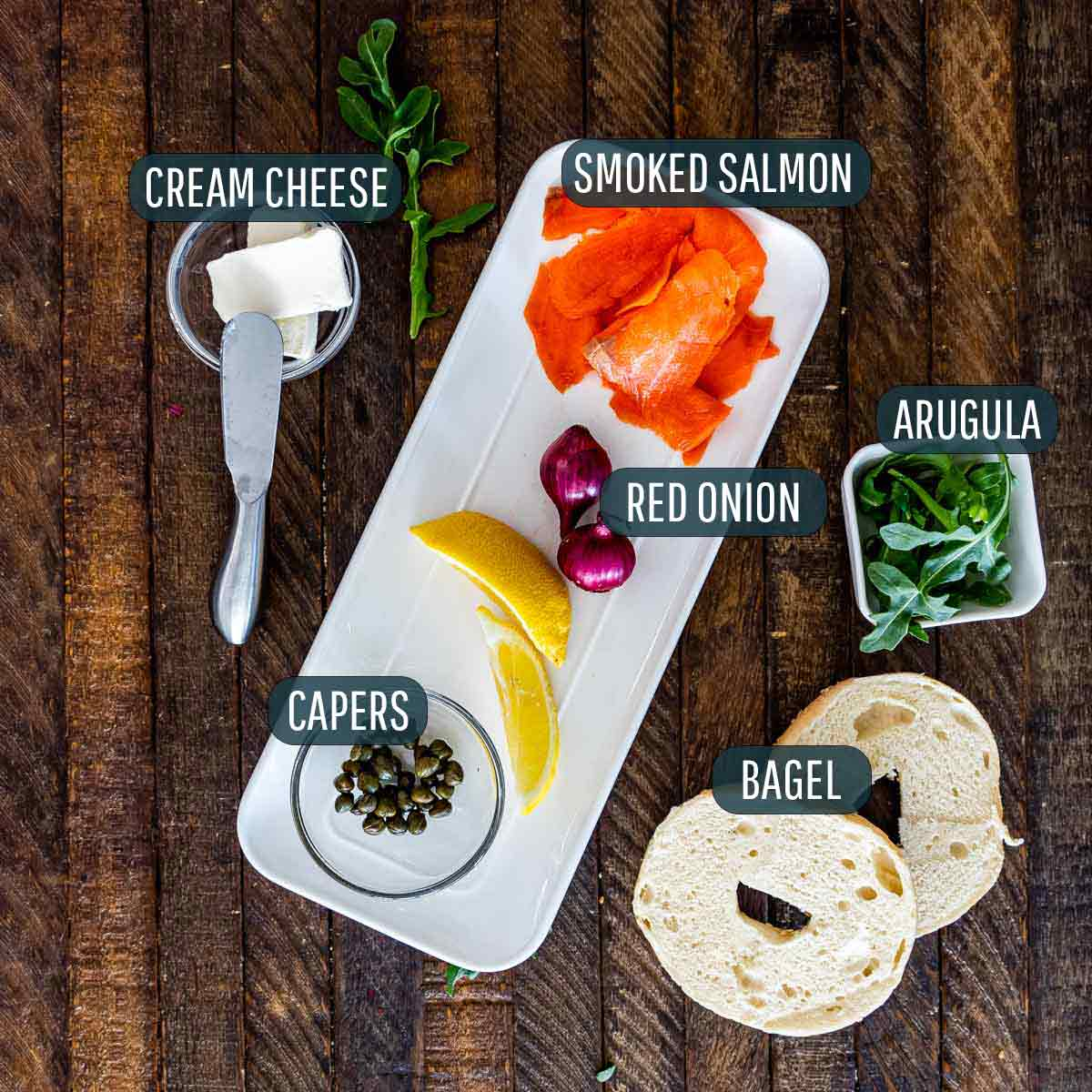 overhead shot of ingredients needed to make salmon cream cheese bagels.