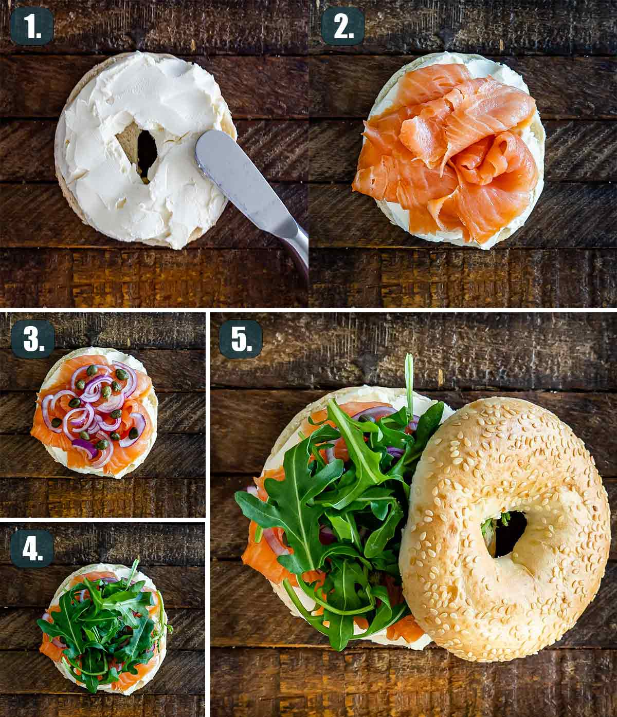 process shots showing how to make salmon cream cheese bagels.