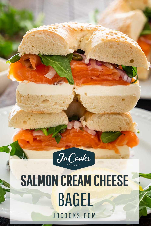 pin for salmon cream cheese bagel.