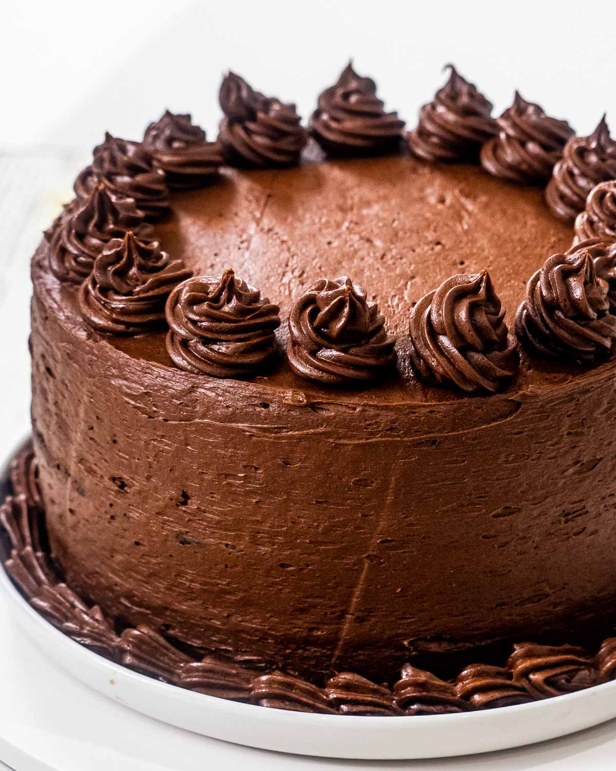 a chocolate cake frosted with chocolate frosting.