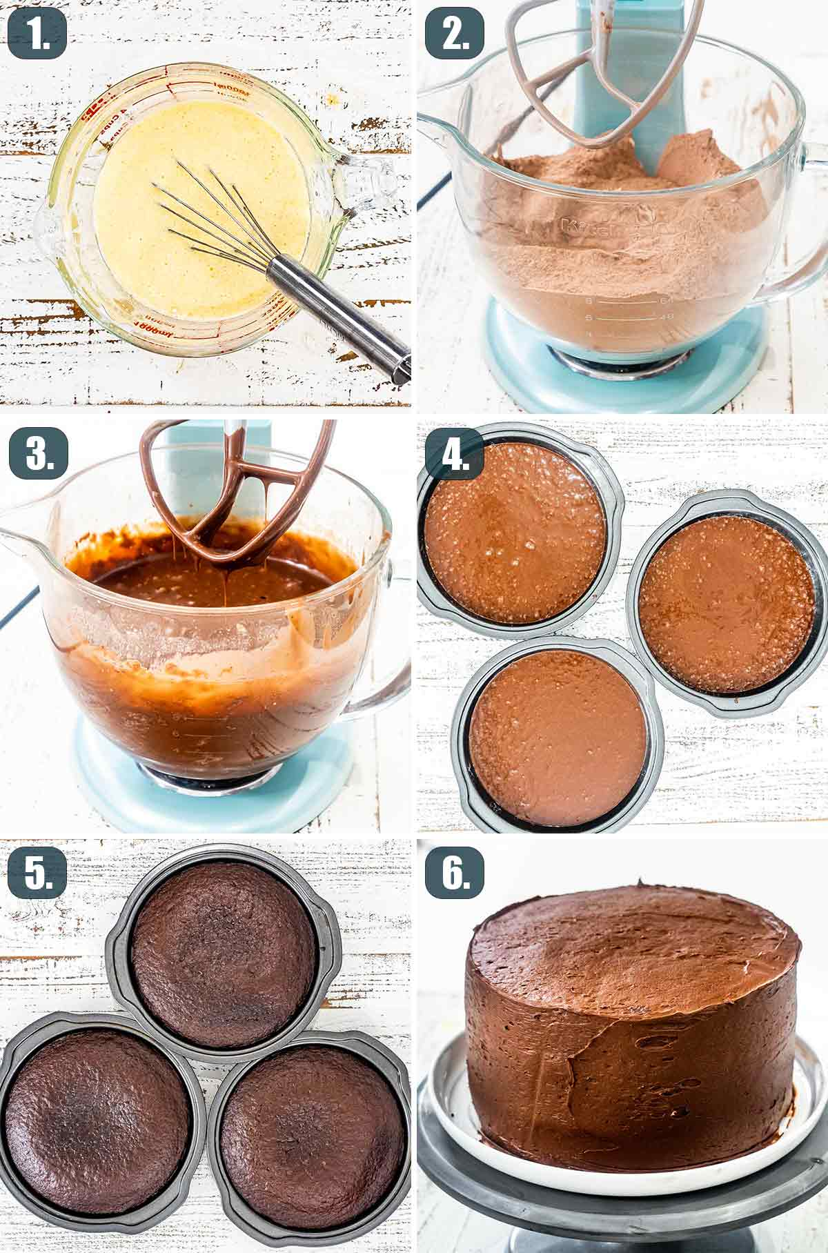 detailed process shots showing how to make chocolate cake.