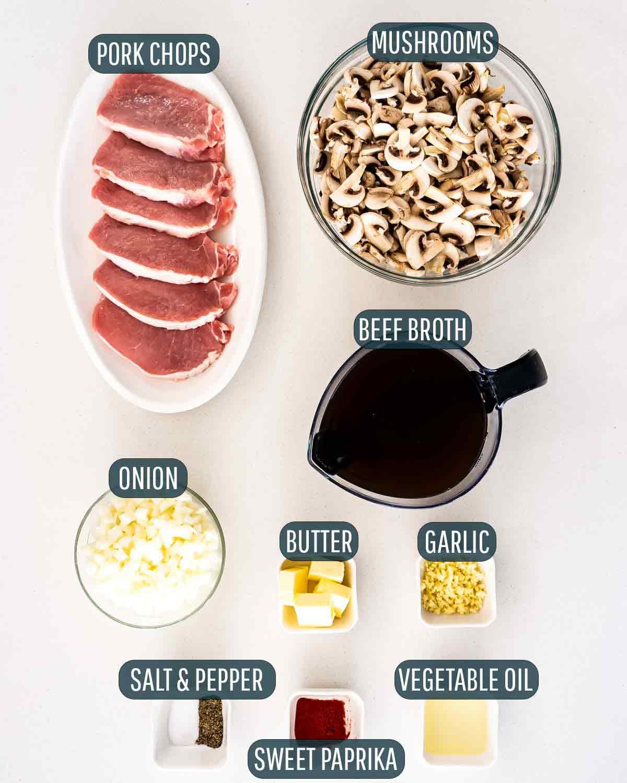 overhead shot of ingredients needed to make jagerschnitzel.