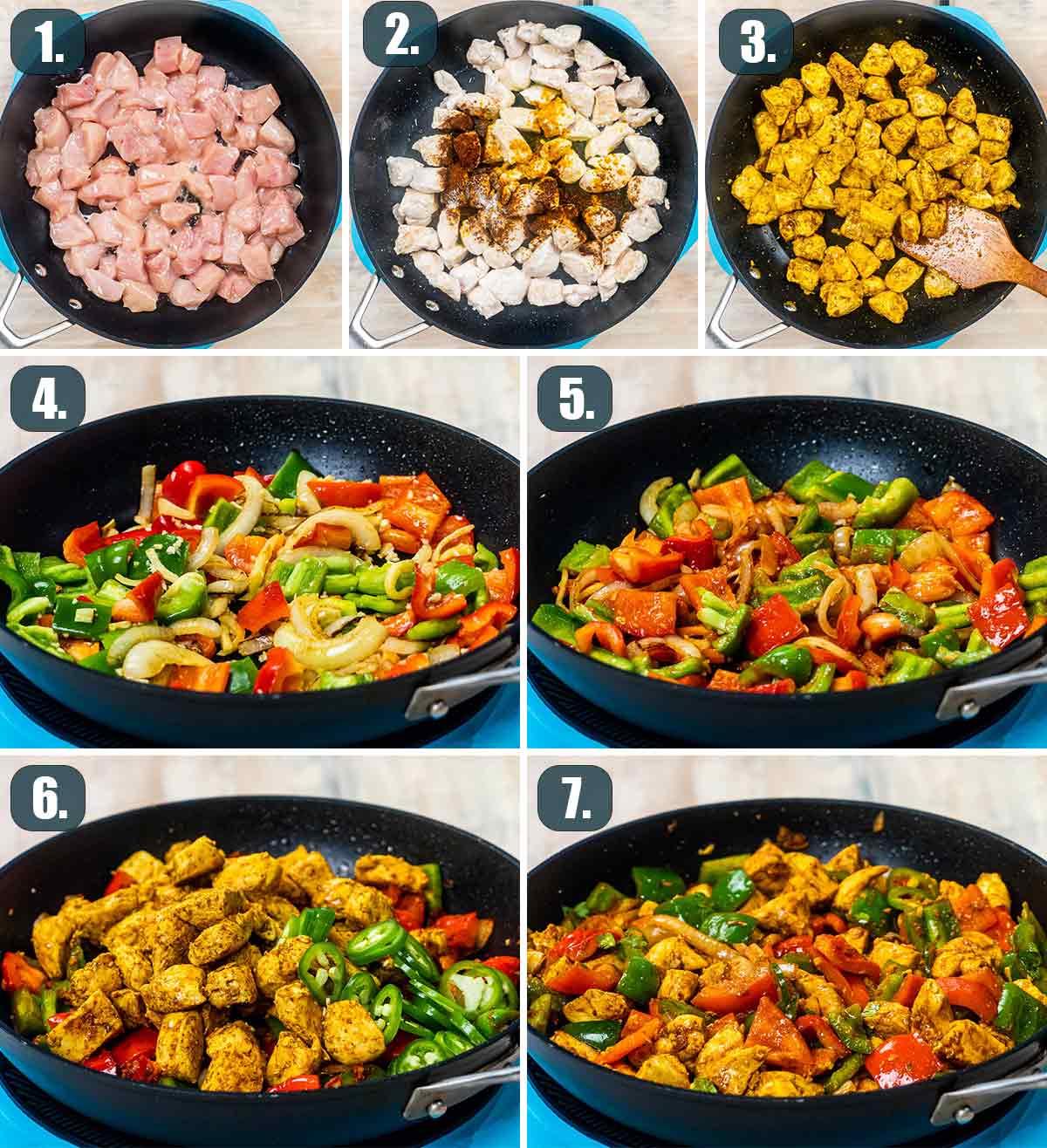 detailed process shots showing how to make chicken jalfrezi.
