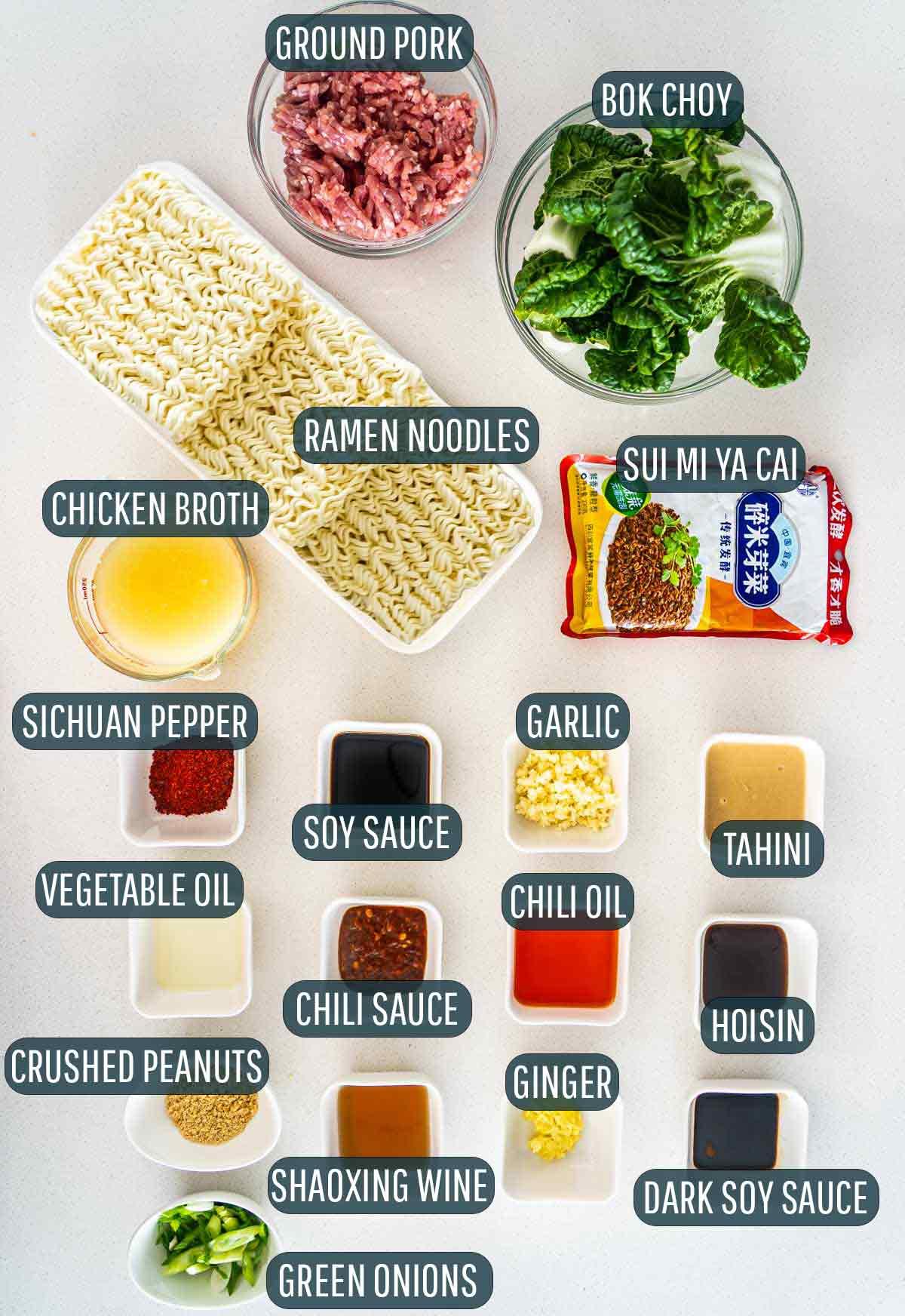 overhead shots of all the ingredients needed for dan dan noodles.