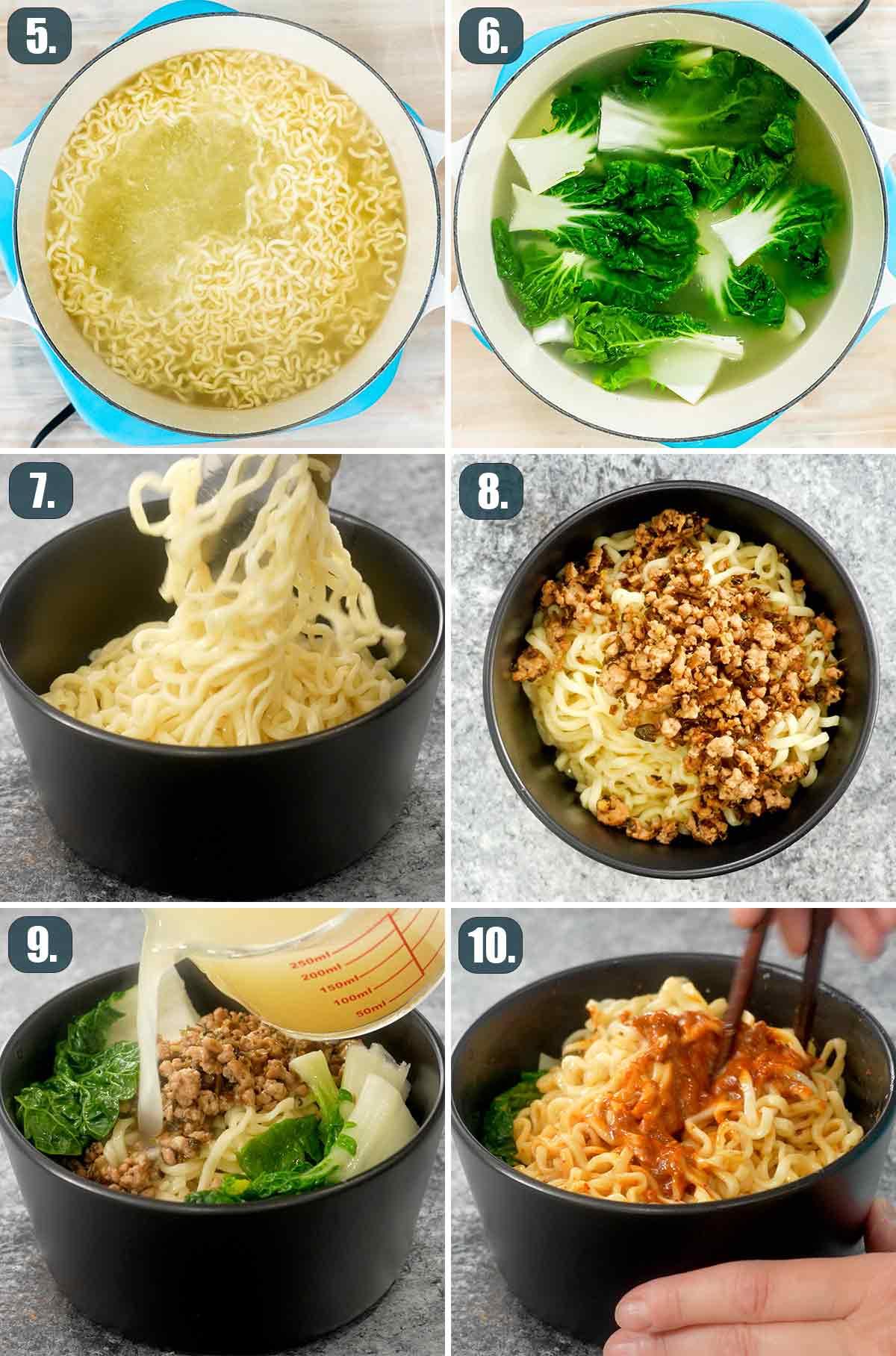 detailed process shots showing how to assemble dan dan noodles.
