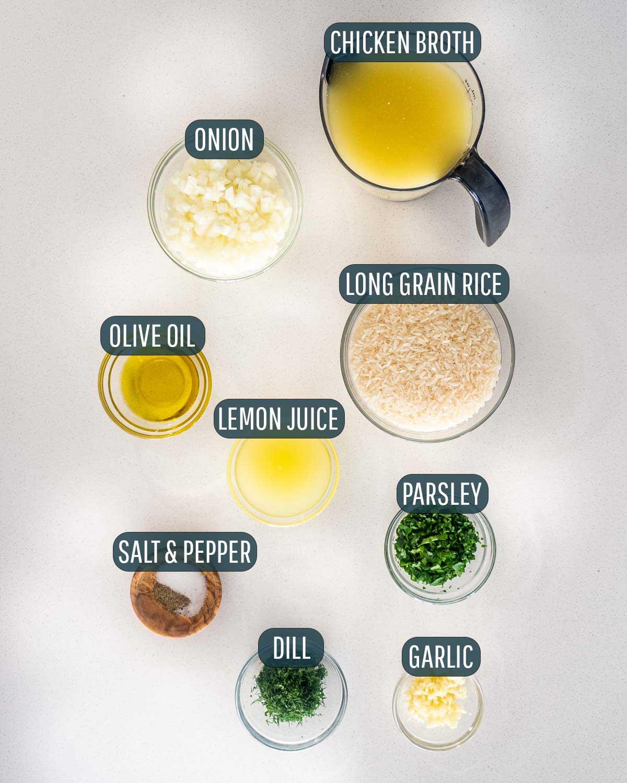overhead shot of ingredients needed to make greek rice.