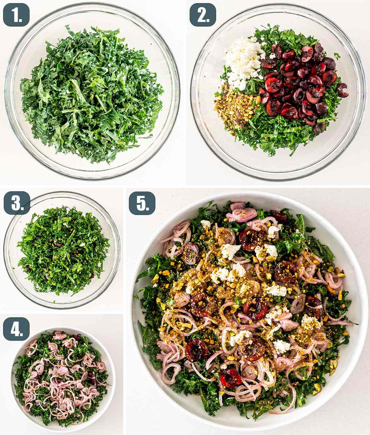 detailed process shots showing how to make kale cherry salad.