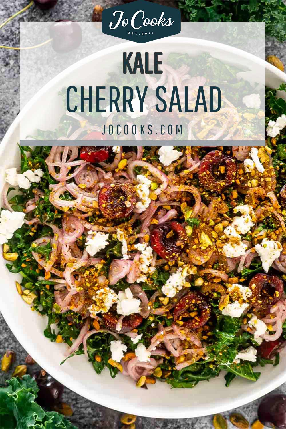 pin for kale cherry salad.