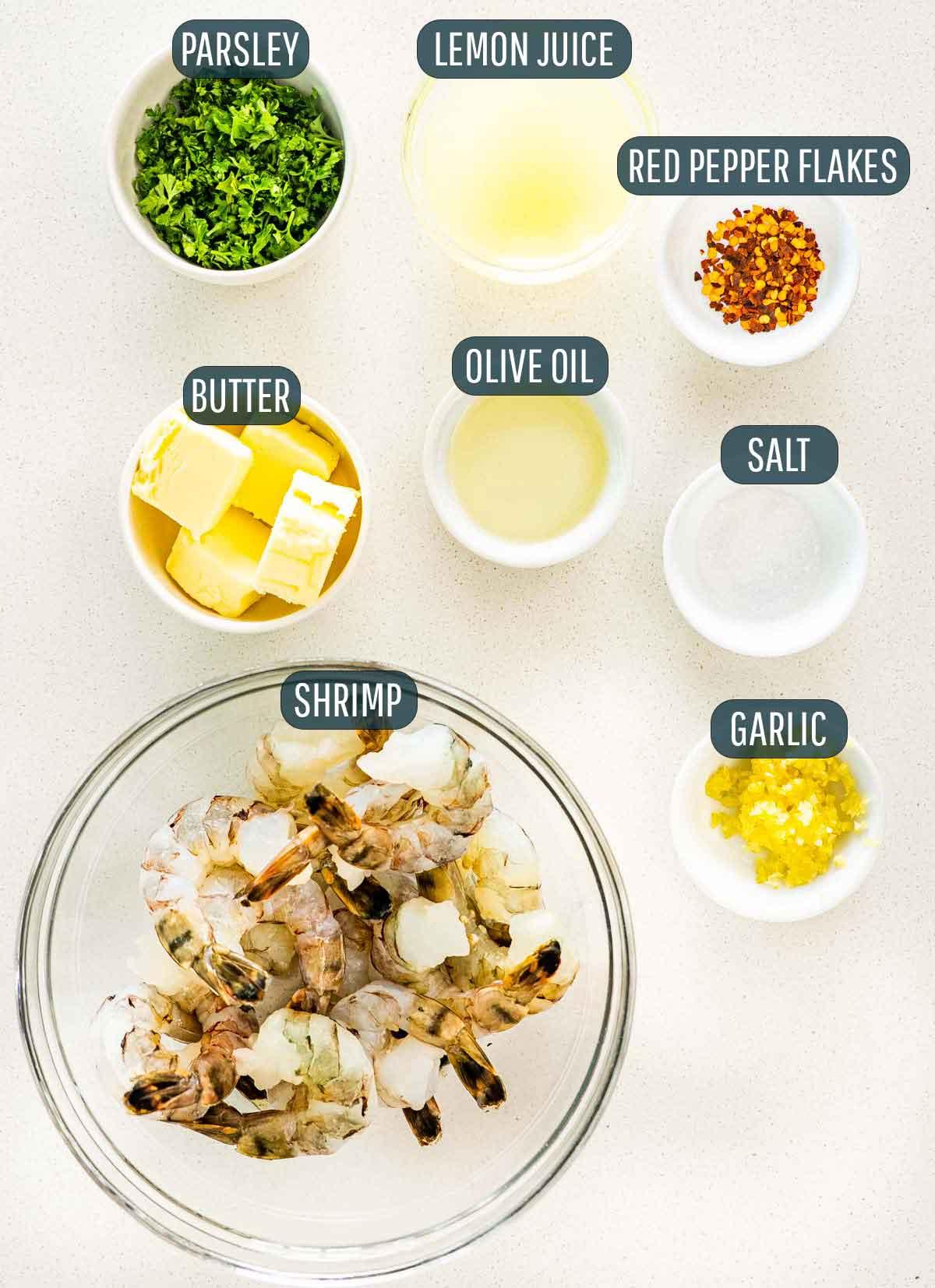 overhead shot of ingredients needed to make garlic butter shrimp.