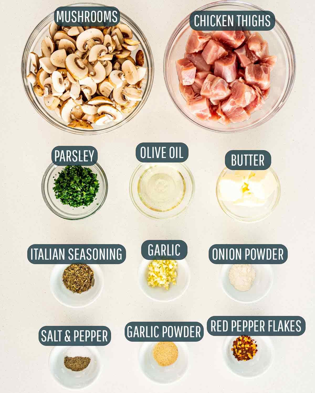 overhead shot of ingredients needed to make mushroom chicken bites.