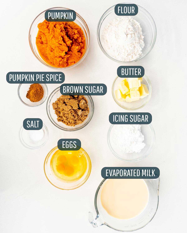 overhead shot of ingredients needed to make pumpkin pie bars.