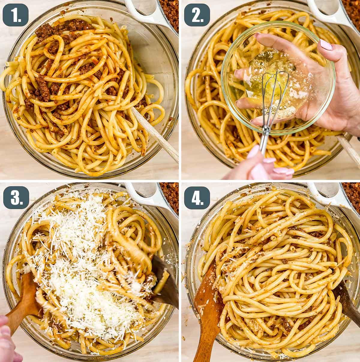 process shots showing how to prepare pastitsio pasta.